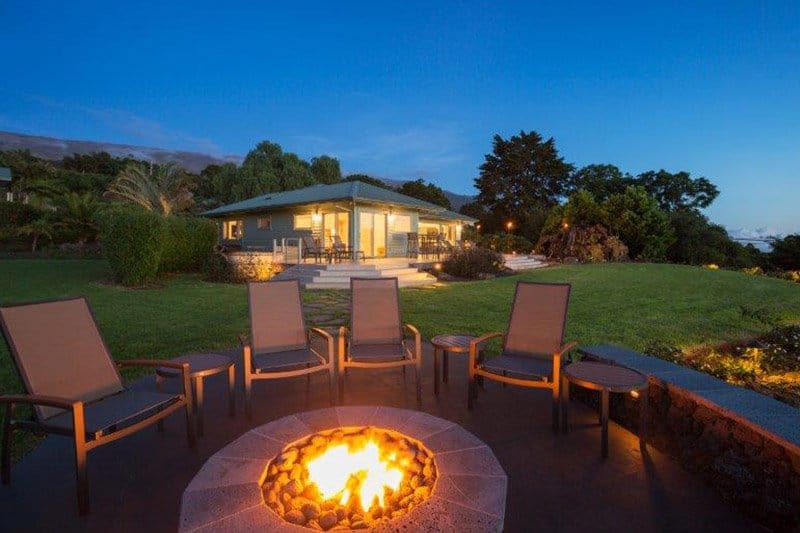Outdoor Living Space Designed with Fire Pit and Chairs